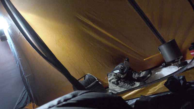 insider of a hiker's tent
