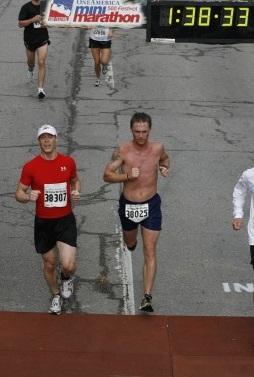 two men running