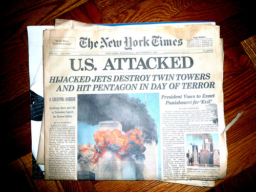 New York Times from 9/12/2001