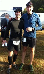 Two guys posing after trail race