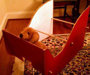 Dog in sleigh frame