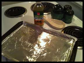 Foil and oil cookie sheet