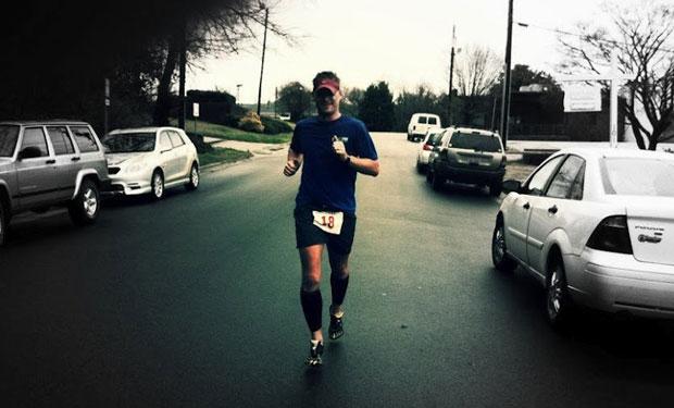 man running down the street