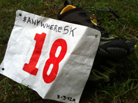 anywhere5k bib and vibram bikila LS