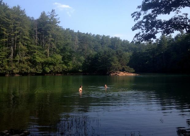 Swimming in Lost Cove at Fontana Lake