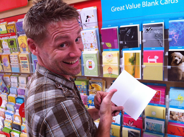 guy in greeting card aisle