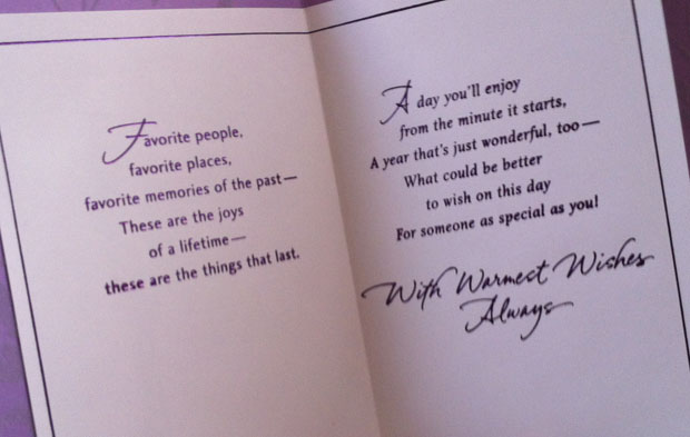 Inside of the greeting card