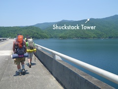 3 men Hiking to Shuckstack fire tower from Fontana Dam