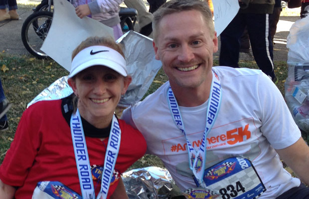 Two runners post marathon
