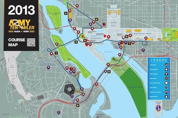 2013 Army Ten Miler course map