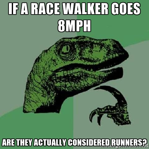 Philosoraptor on race walkers