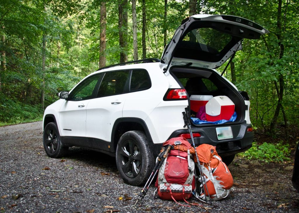jeep and backpacks