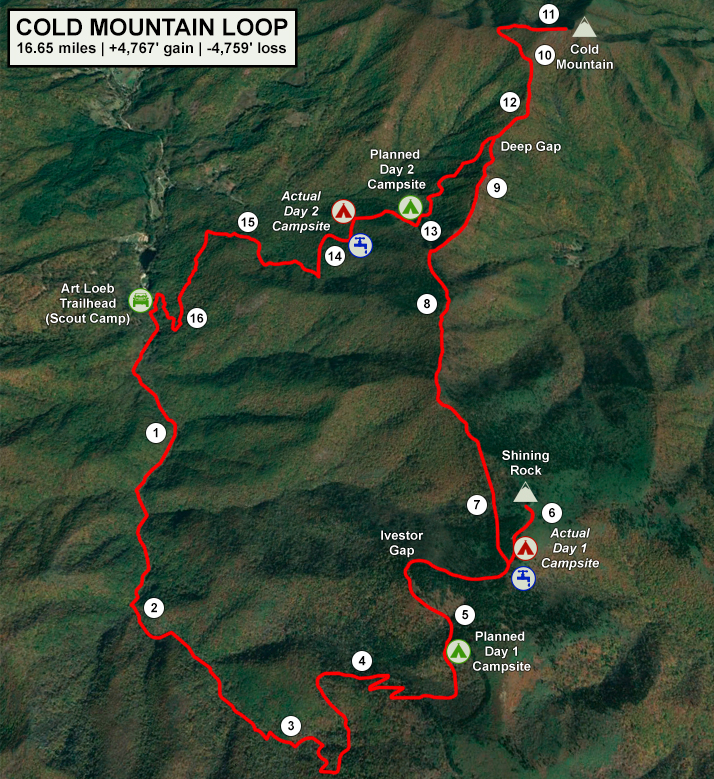 cold mountain loop route map with mileage