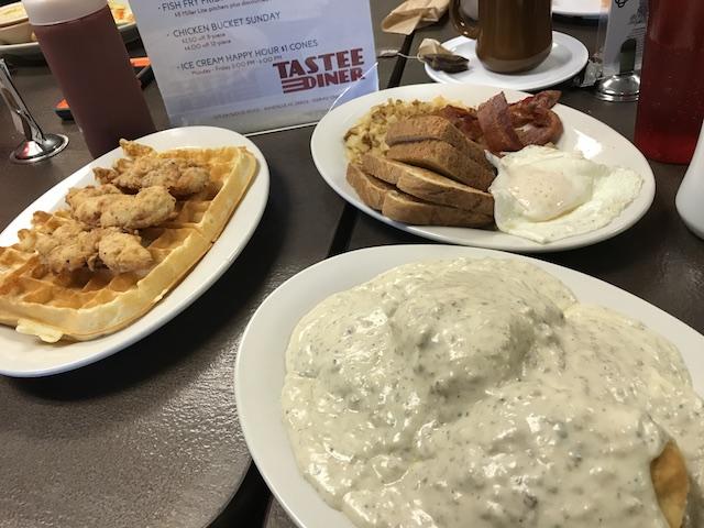 three breakfast plates of food