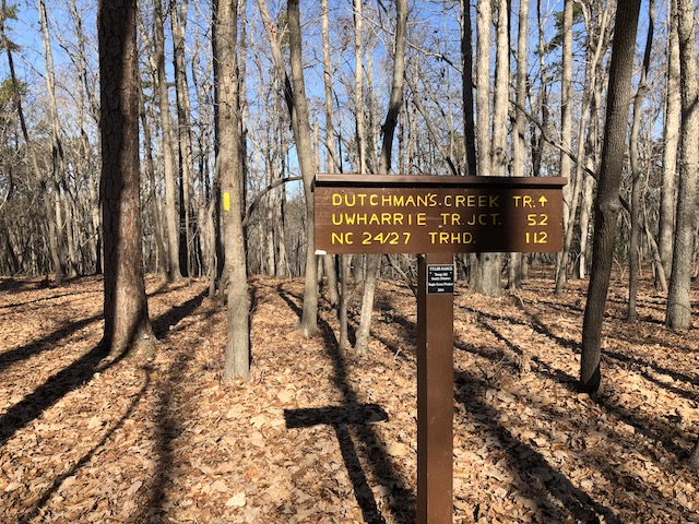 Trail sign at northern Dutchman/Uwharrie intersection