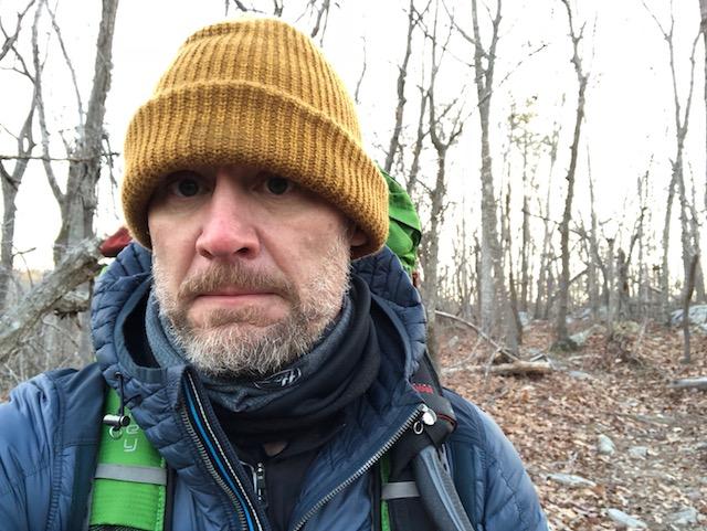 backpacker in the winter