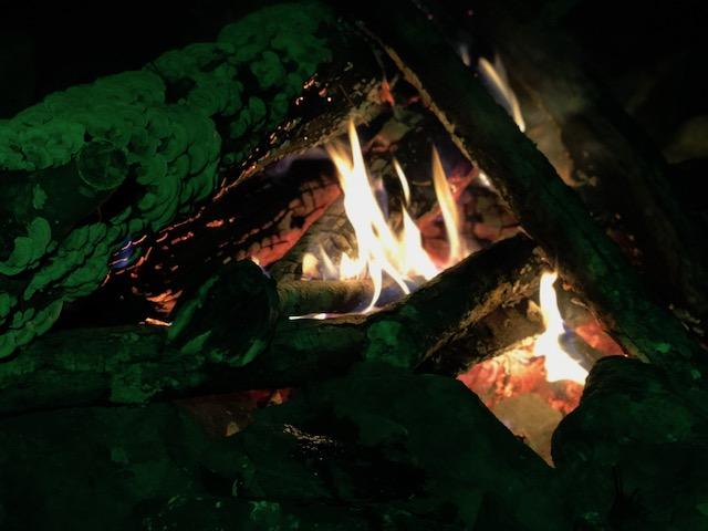 campfire up close at night