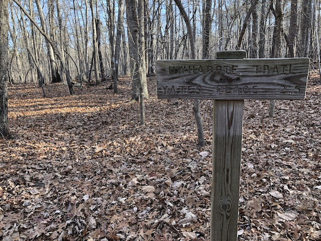 Trail sign at the northern Dutchman/Uwharrie junction